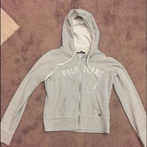 Ralph Lauren polo jeans co. Gray zip up hoodie lg